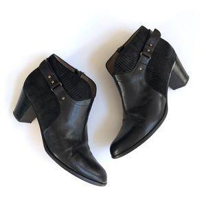 ANYI LU black leather Cynthia ankle booties
